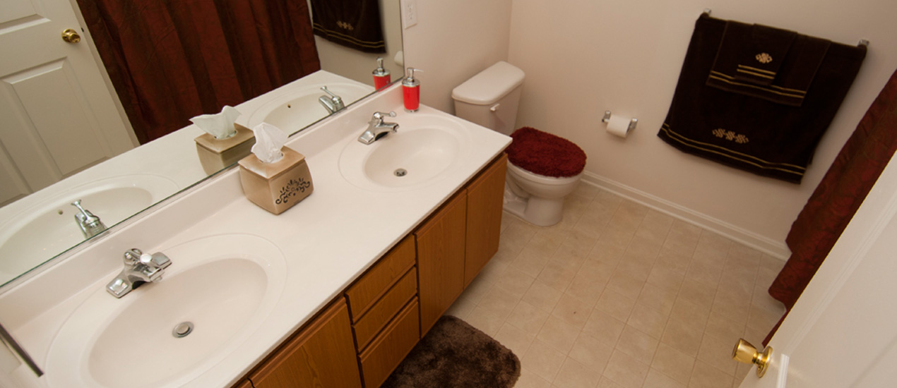 Model Apartment Bathroom with Double Vanity Sinks