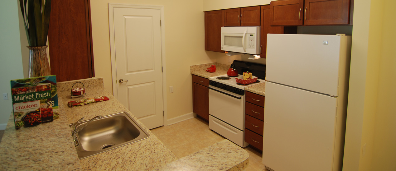 Model Apartment Kitchen at Victory Woods