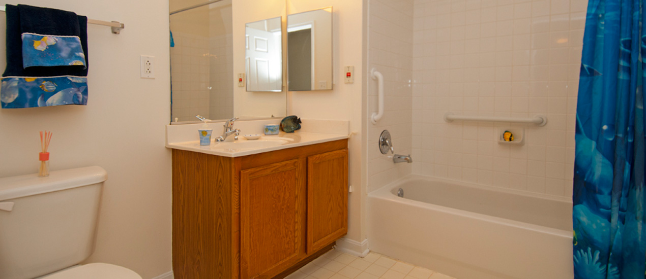 Grab bars are installed in the bathrooms for extra support
