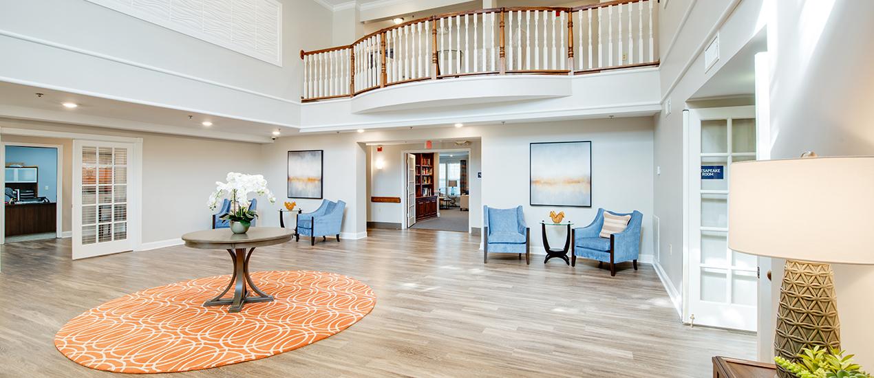 Interior lobby with brand new vinyl flooring