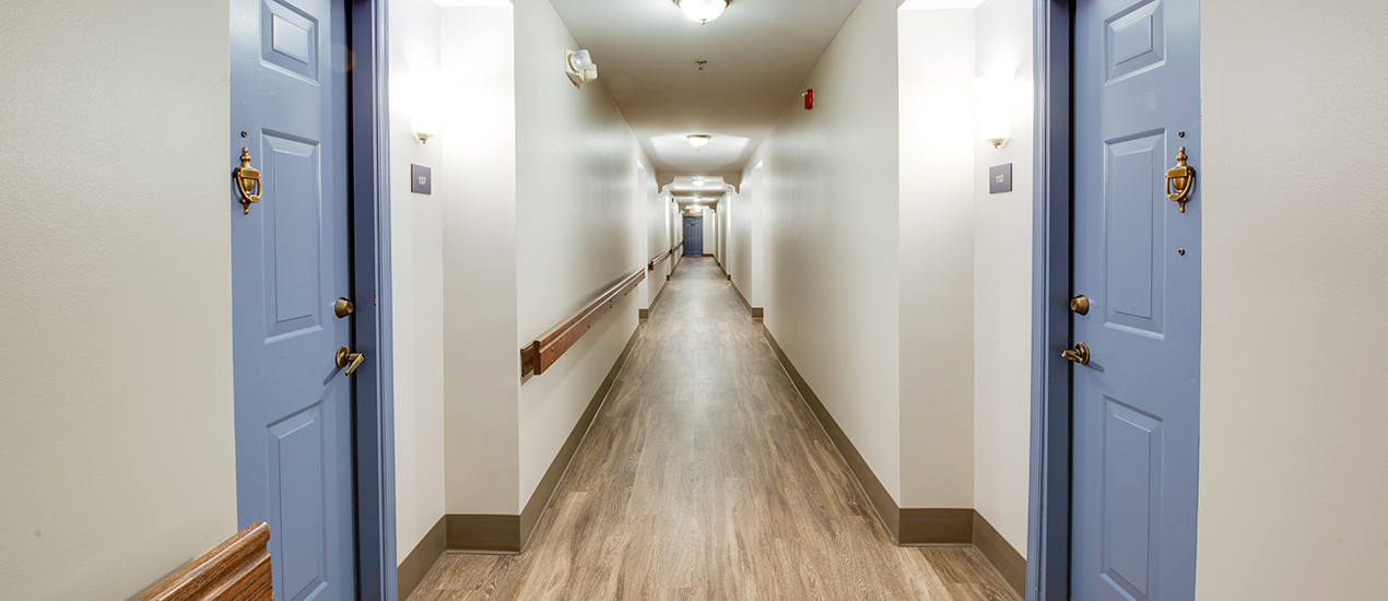 Resident hallway with interior entryways