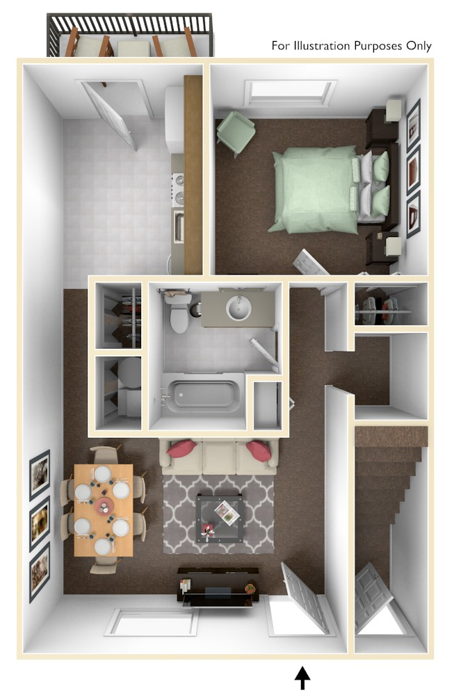 Windsor Valley 1br 600 Square Feet 3d Floor Plan Habitat America