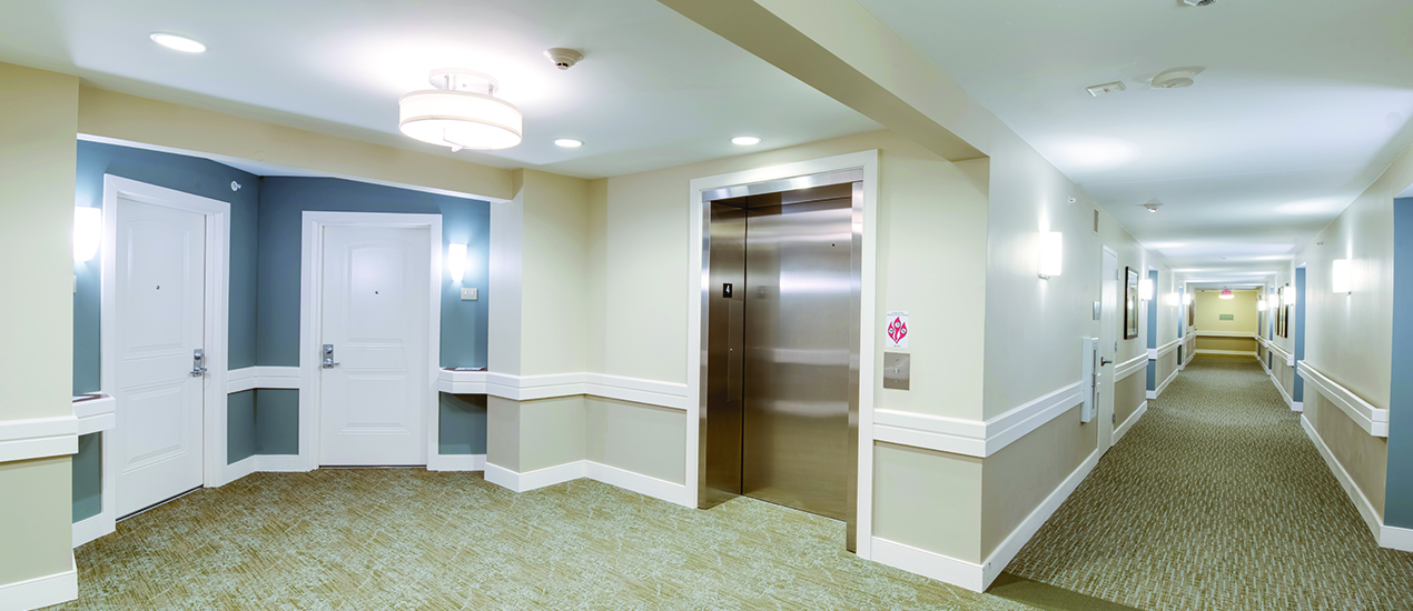 Elevator and hallway