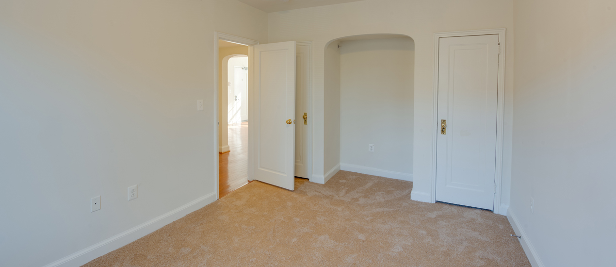 Bedroom with closet and carpet