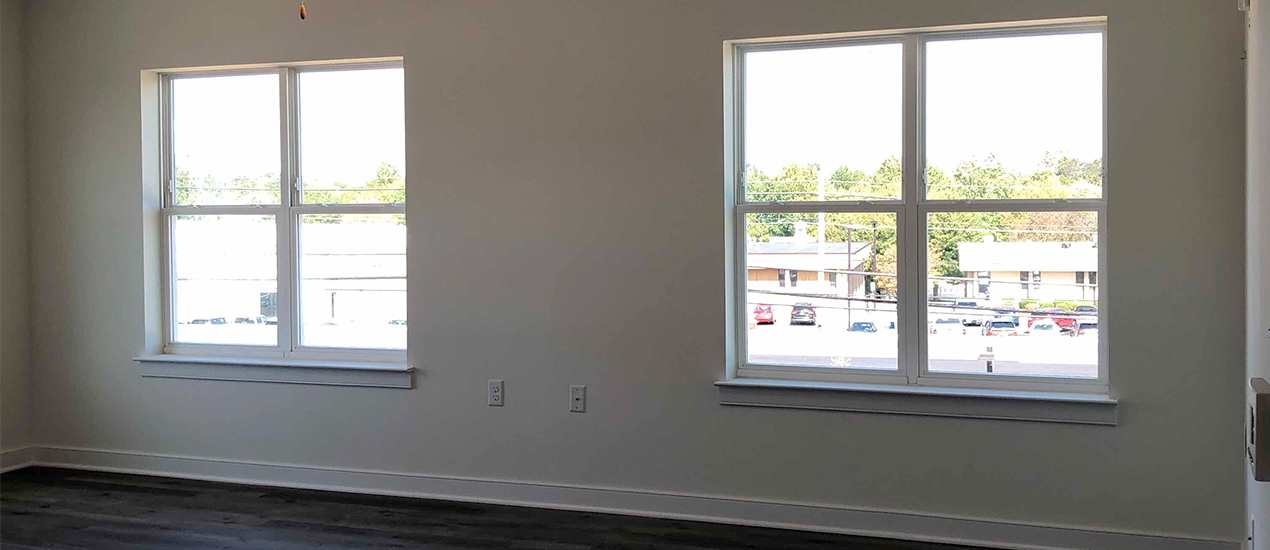 Interior living room with windows