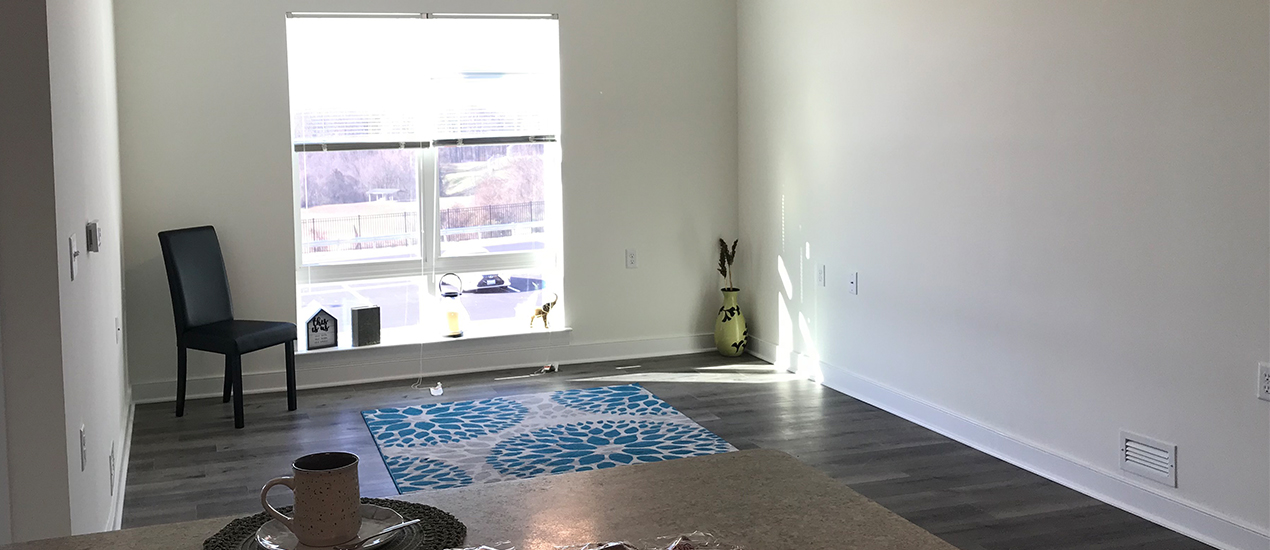 Living room with vinyl flooring
