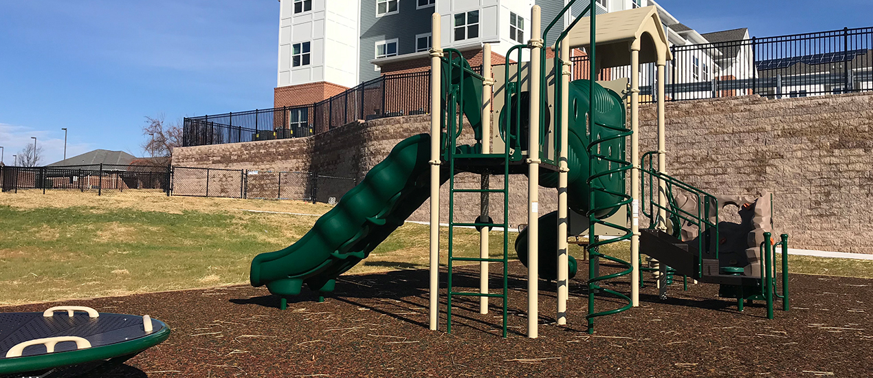 Playground with spacious green space