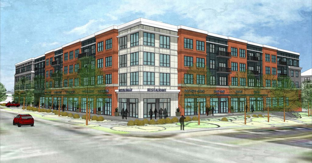 Rendering of exterior Village at Stadium Place