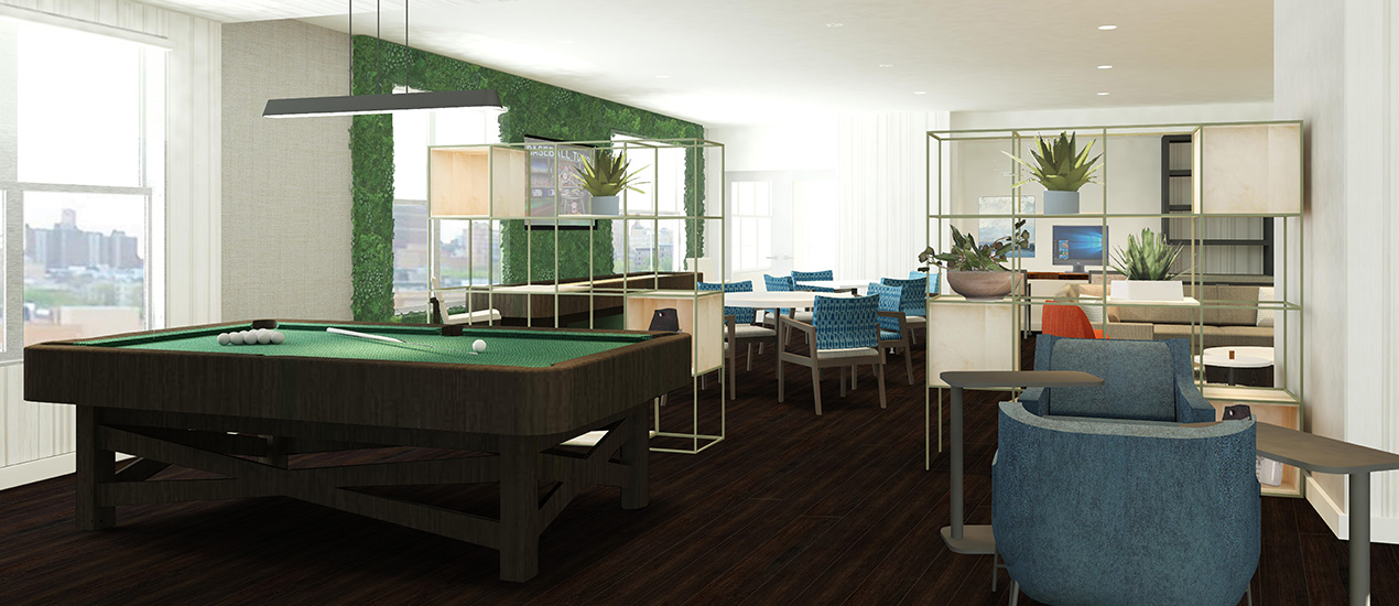 Community room with billiards table rendering