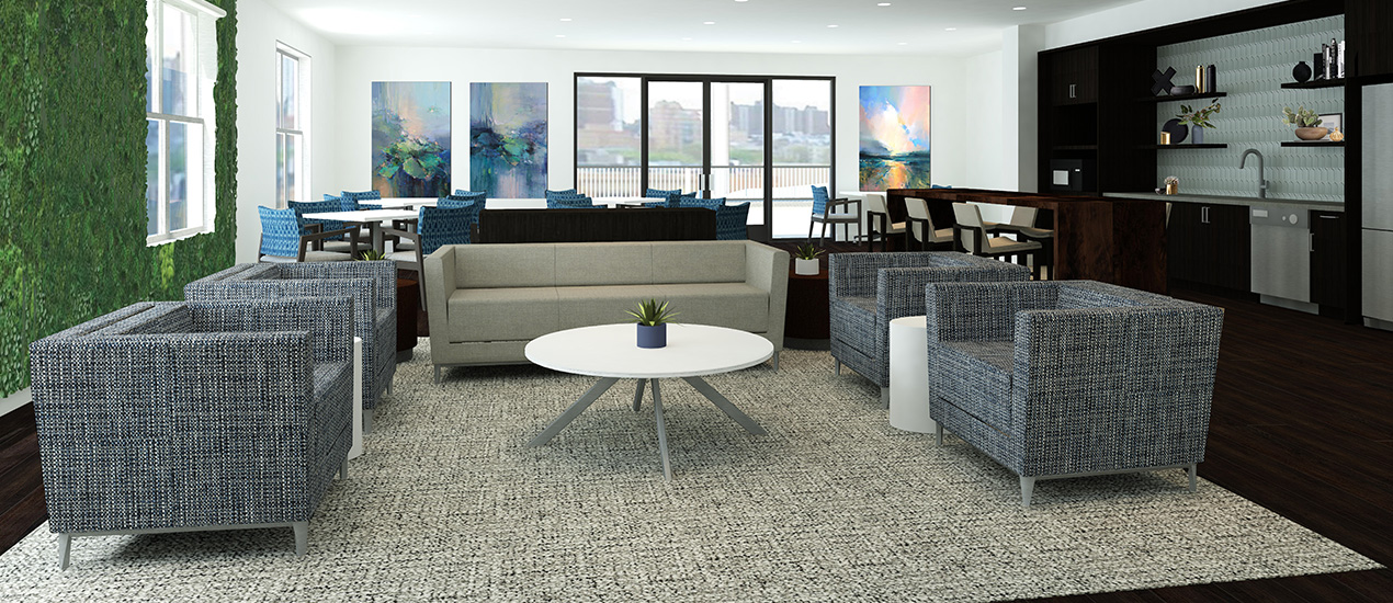 Community space rendering with couches